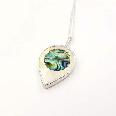 Bezel-set Mother of Pearl Teardrop with Abalone Inlay Necklace