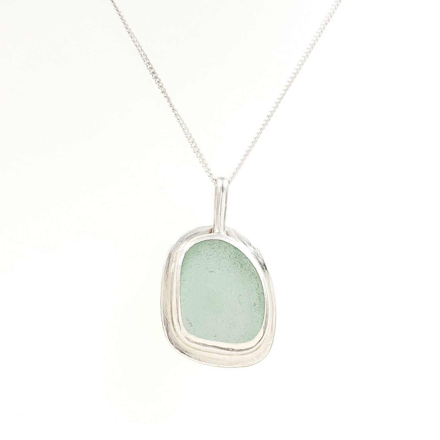 Seafoam Green Lake Erie Beach Glass Necklace Bezel Set in Sterling Silver