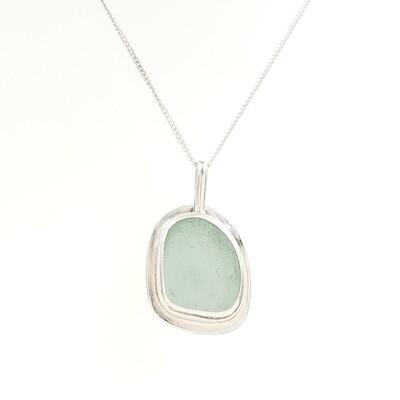 Seafoam Green Lake Erie Beach Glass Necklace Bezel Set in Sterling Silver