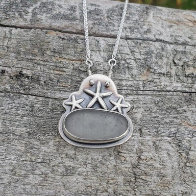 Gray Lake Erie Beach Glass with Sterling Silver Starfish Necklace