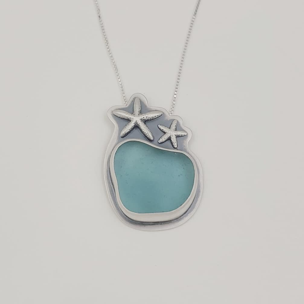 Light Blue Beach Glass Necklace with Starfish Detail
