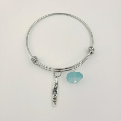 Bangle Bracelet with Kayak Charm and Light Blue Lake Erie Beach Glass