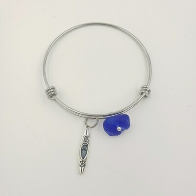 Bangle Bracelet with Kayak Charm and Cobalt Blue Lake Erie Beach Glass