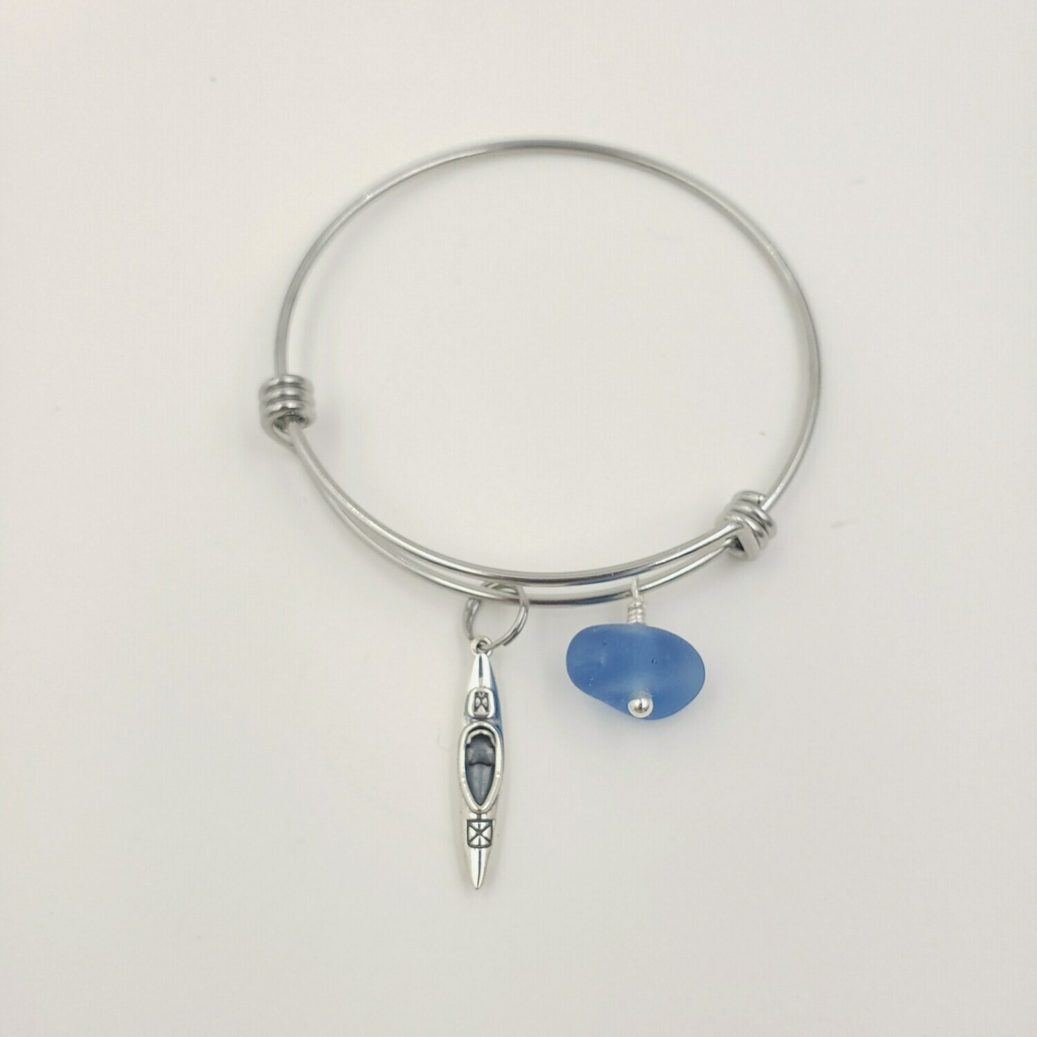 Bangle Bracelet with Kayak Charm and Cornflower Blue Lake Erie Beach Glass