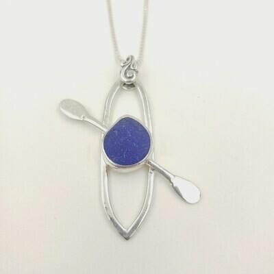 Cobalt Blue Lake Erie Beach Glass Kayak Necklace