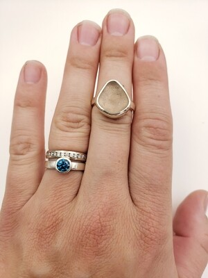 Pale Pink Lake Erie Beach Glass Ring - size 6 3/4