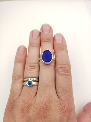 Cobalt Blue Lake Erie Beach Glass Ring - size 6 1/2