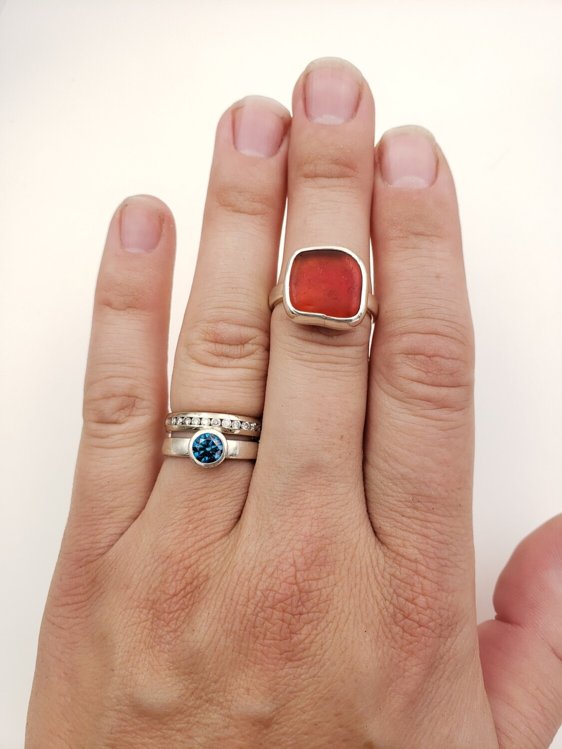 Red Lake Erie Beach Glass Ring - size 6 3/4