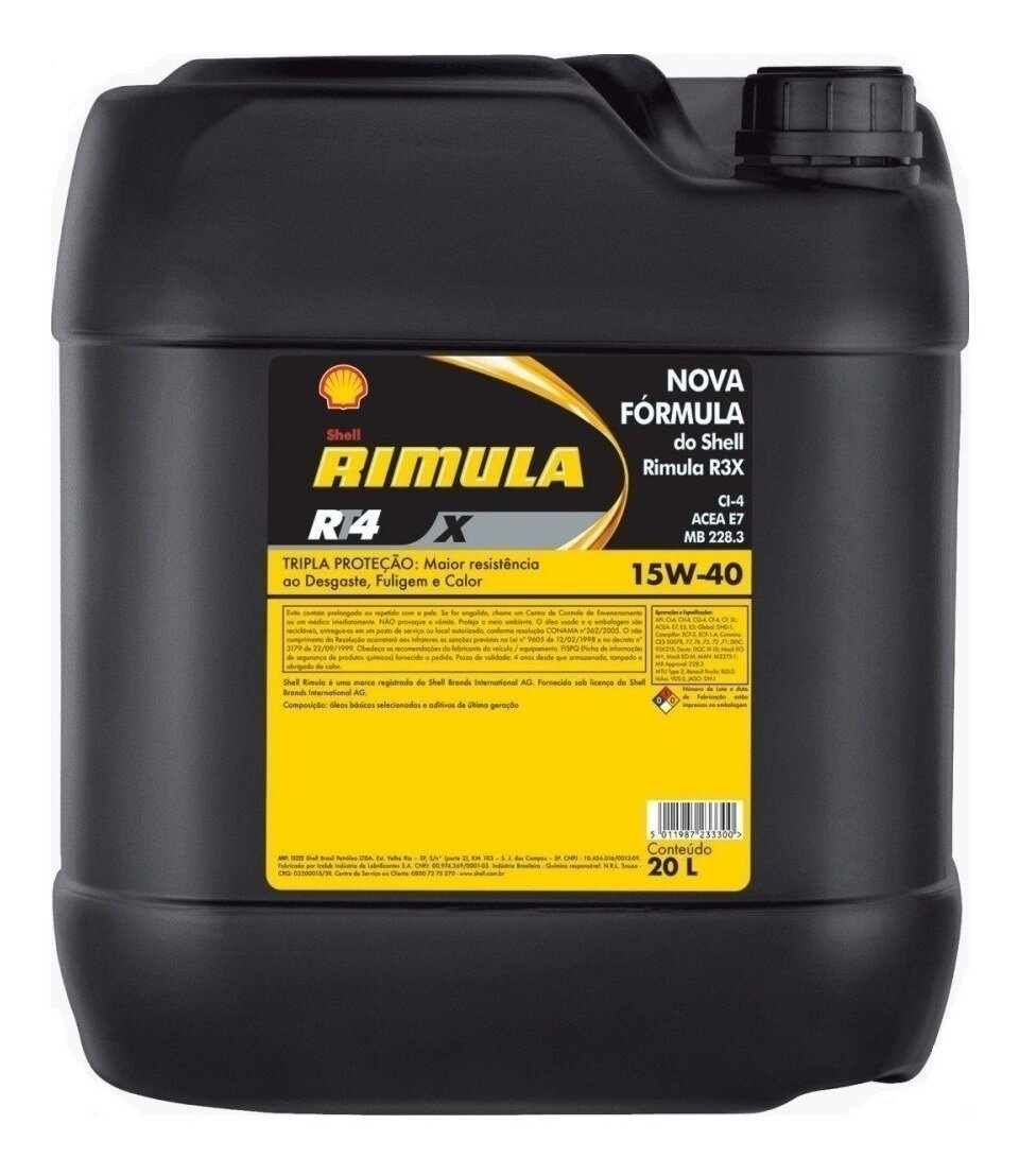 ACEITE MOTOR SAE 15W40 CH/4 SHELL RIMULA RT4X DIESEL PAILA 20LTS.