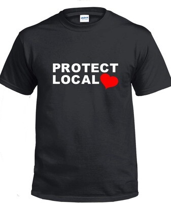 Protect Local T-Shirt (White & Red on Black)