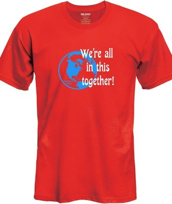 Together T-Shirt (Blue & White on Red)