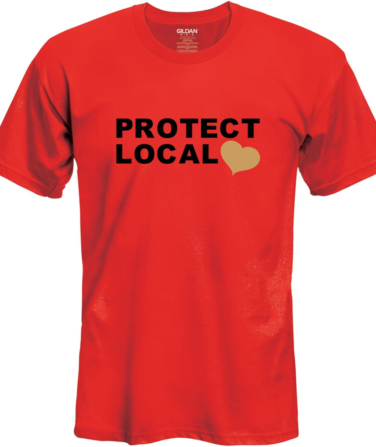 Protect Local T-Shirt (Black & Gold on Red)