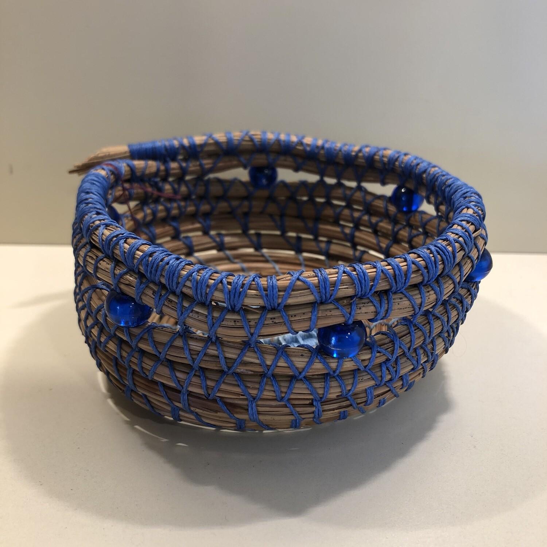 Pine Needle Basket, Blue Box