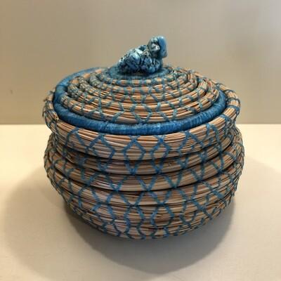 Pine Needle Basket, Turquoise Box