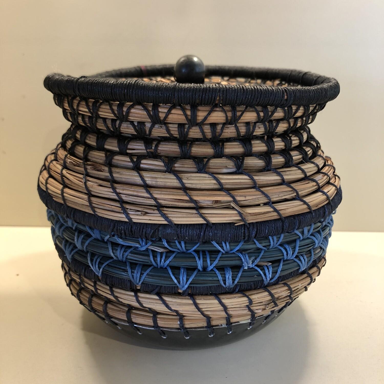Pine Needle Basket, Steel Base