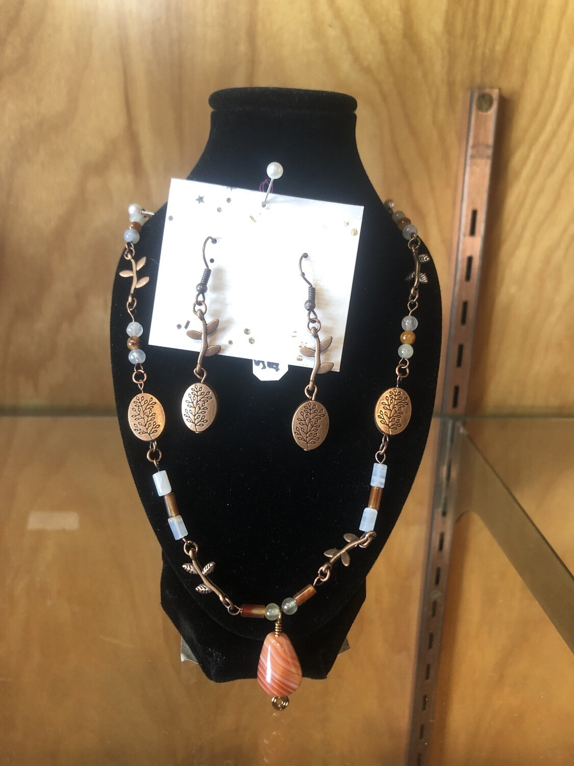 Copper Agate Necklace and Earrings Set