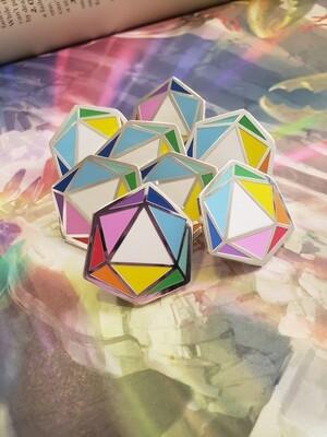 Rainbow D20 Enamel Pin
