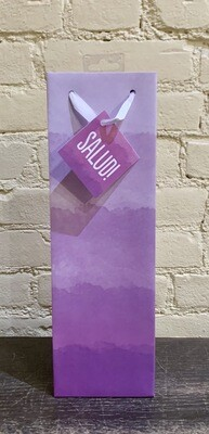 "Purple Watercolor "" Salud!""- Single Bottle Wine Bag"