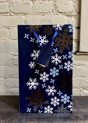 Blue Snowflake- Double Bottle Wine Bag