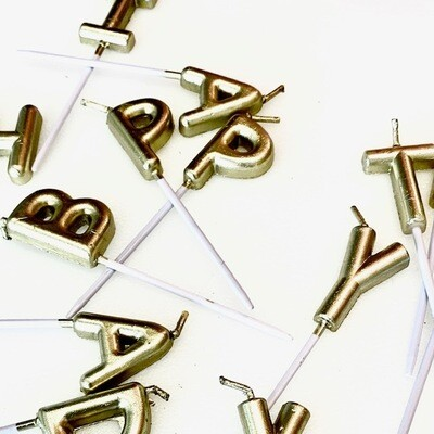 Metallic Happy Birthday Candles