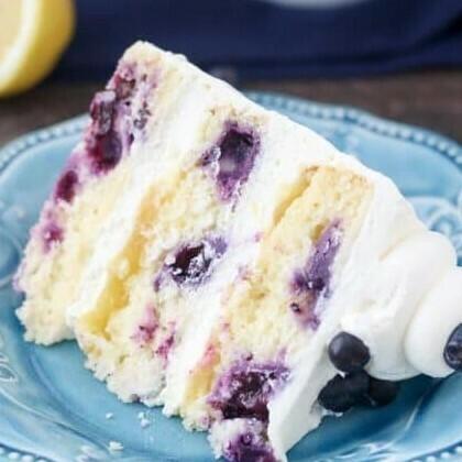 Slice Lemon Blueberry Mascarpone Cake