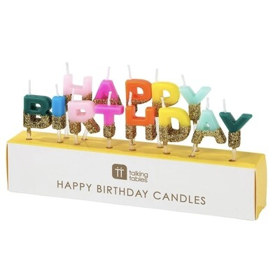 Rainbow Happy Birthday Glitter Candles