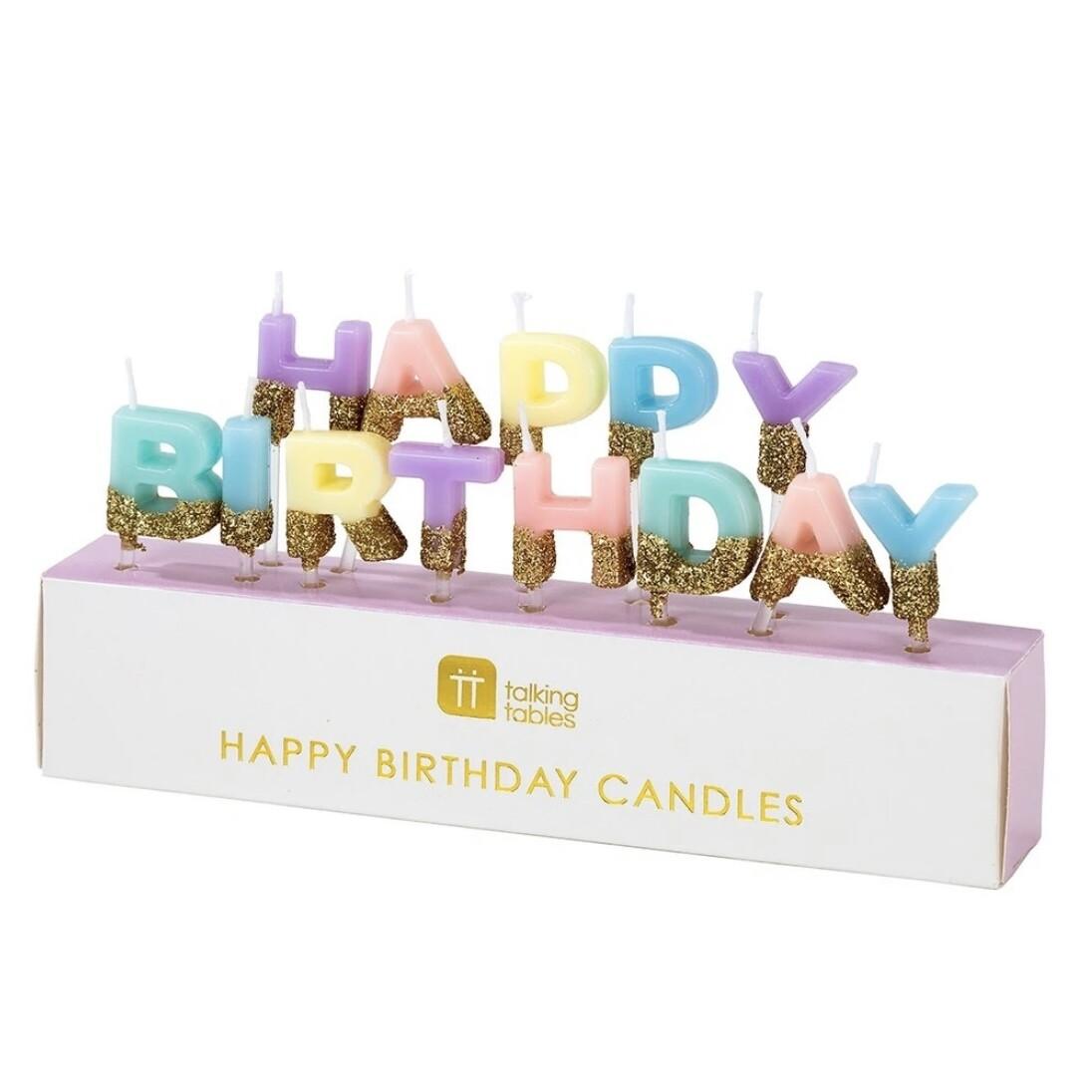Pastel Happy Birthday Glitter Candles