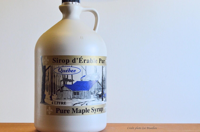 Sirop d'érable biologique - Ambré goût riche (cruchon de 4 litres)