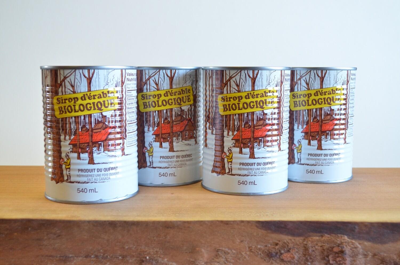 Sirop d'érable biologique - 2 cannes Ambré, 2 cannes Doré (1/2 gallon)