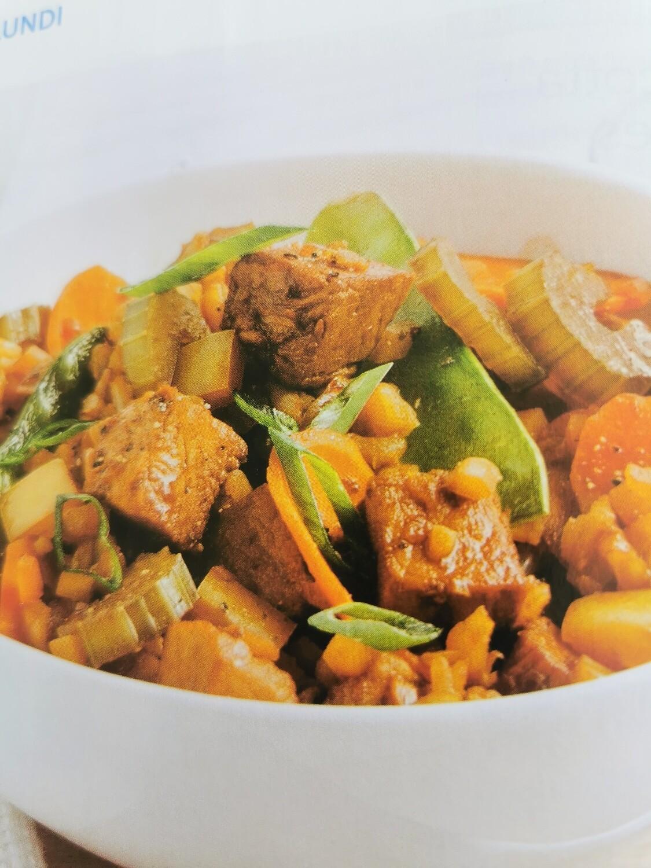 Riz au porc et légumes