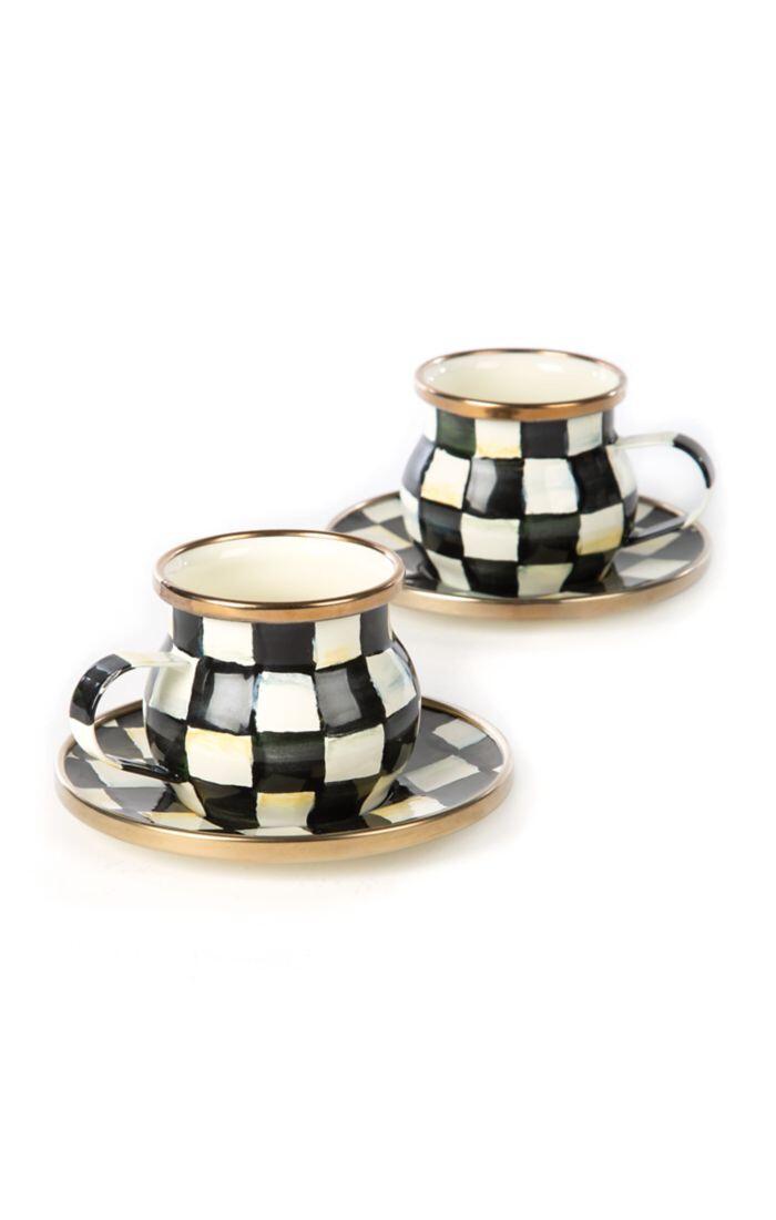 CC enamel espresso cup and saucer set