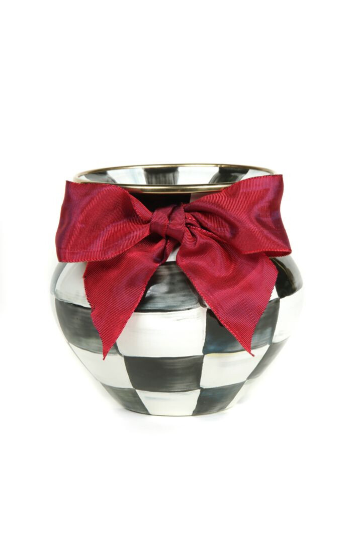 CC enamel vase red bow small