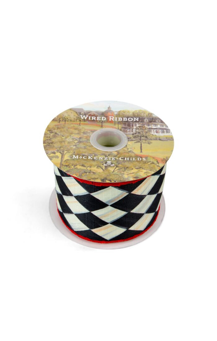 Courtly harlequin 3 inch ribbon chartreuse black