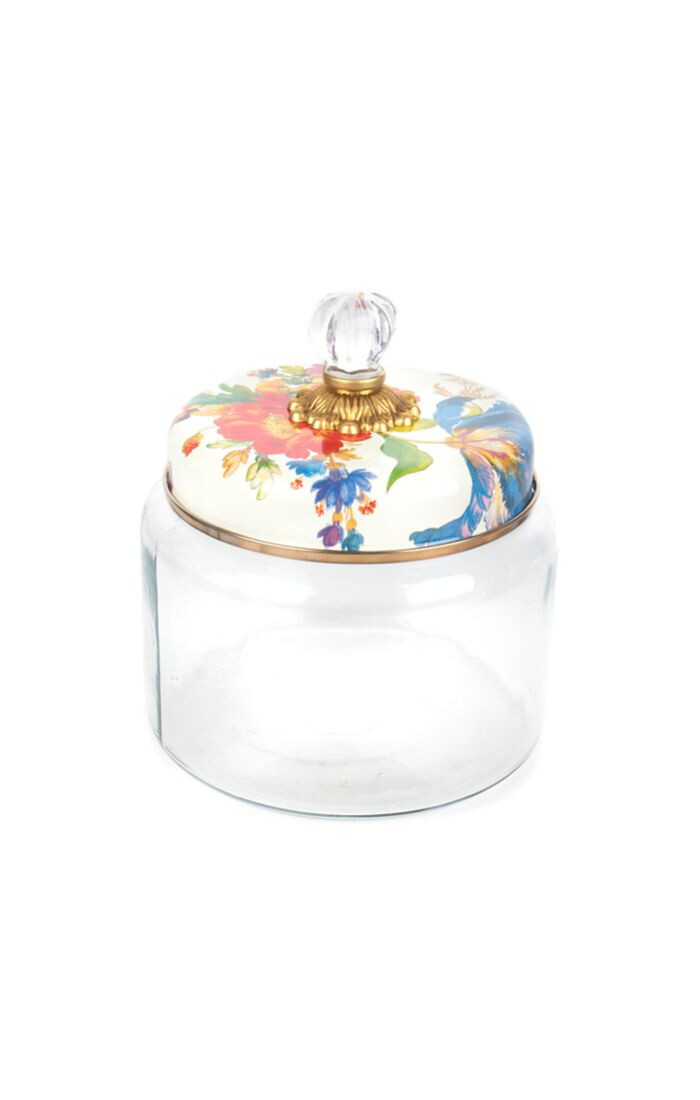 Flower market kitchen canister small white