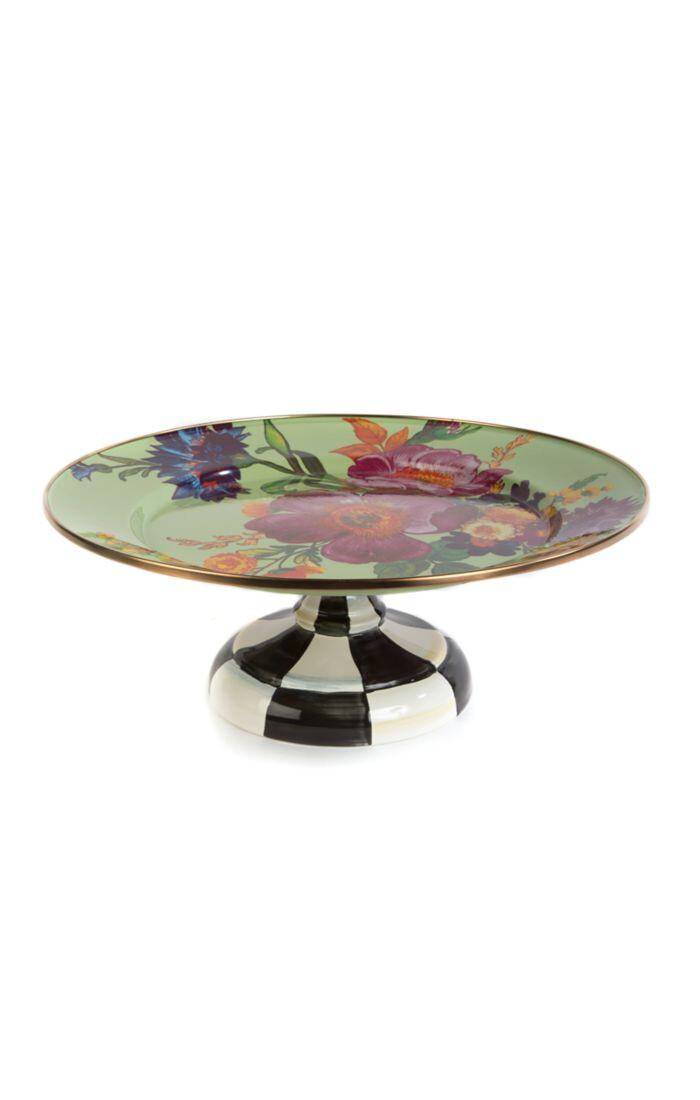 Flower market pedestal platter small green