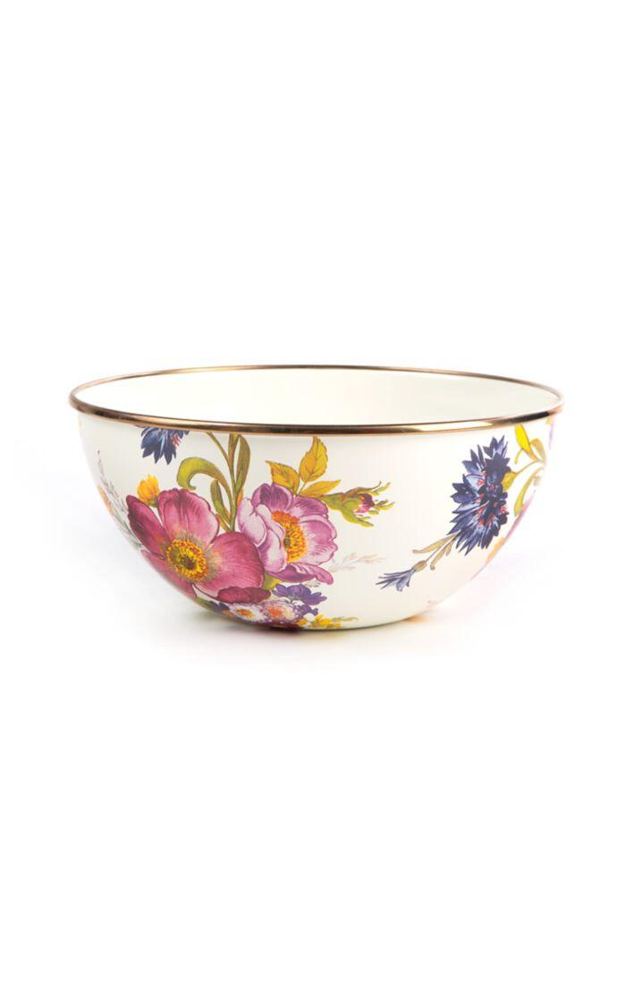 Flower market small everyday bowl white
