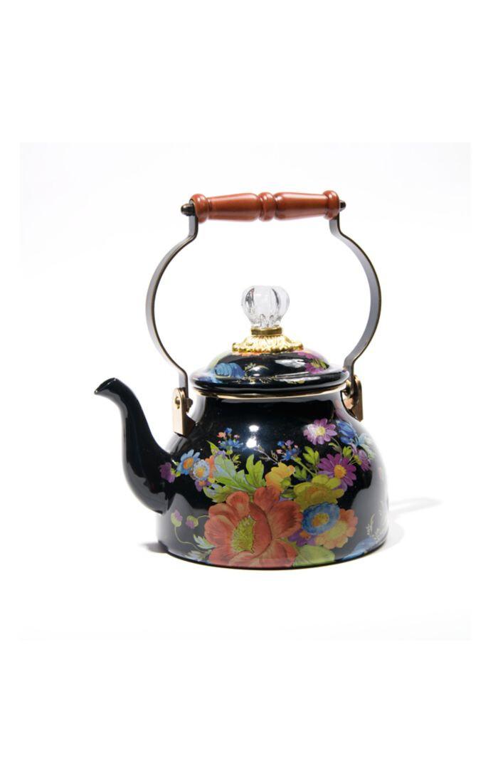 Flower market tea kettle 2 qt black