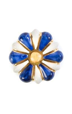 Flower power knob blue and white