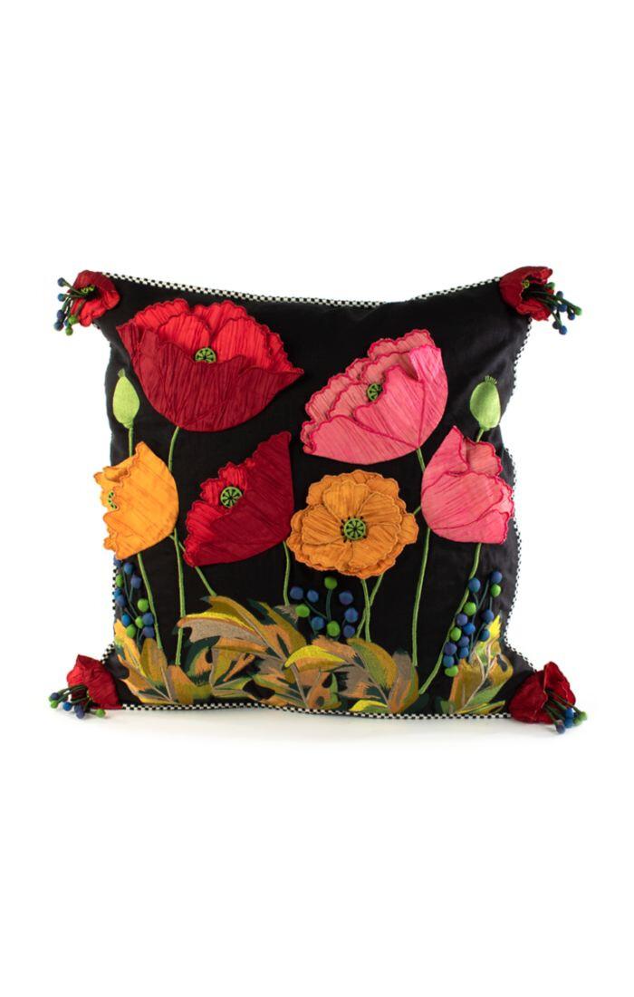 Poppy square pillow black