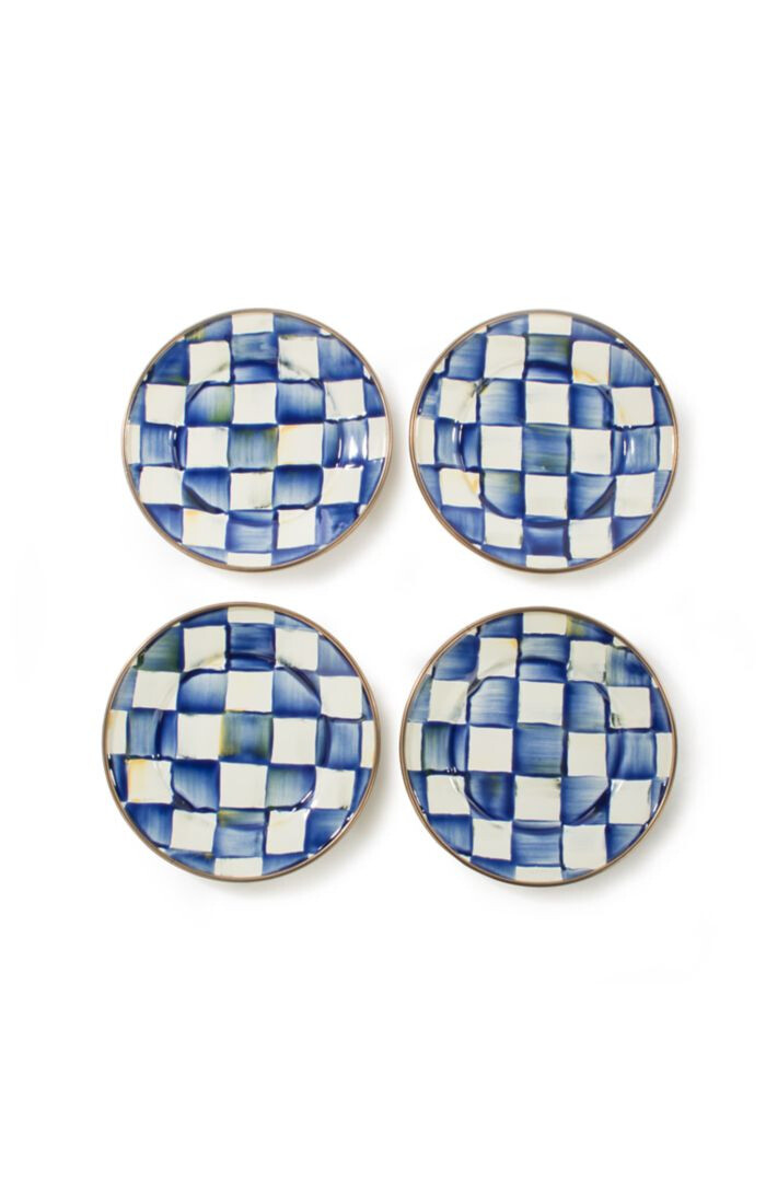 Royal check canape plates set of 4