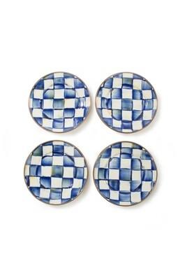Royal check canape plates set of 4