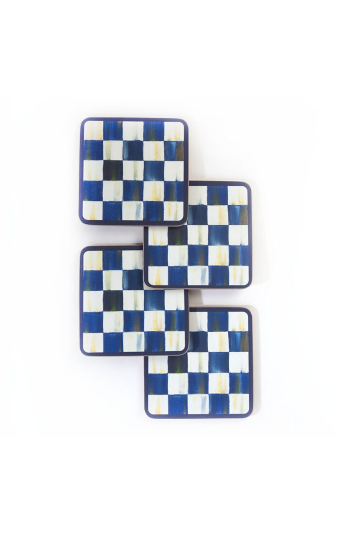 Royal check cork back coasters set of 4