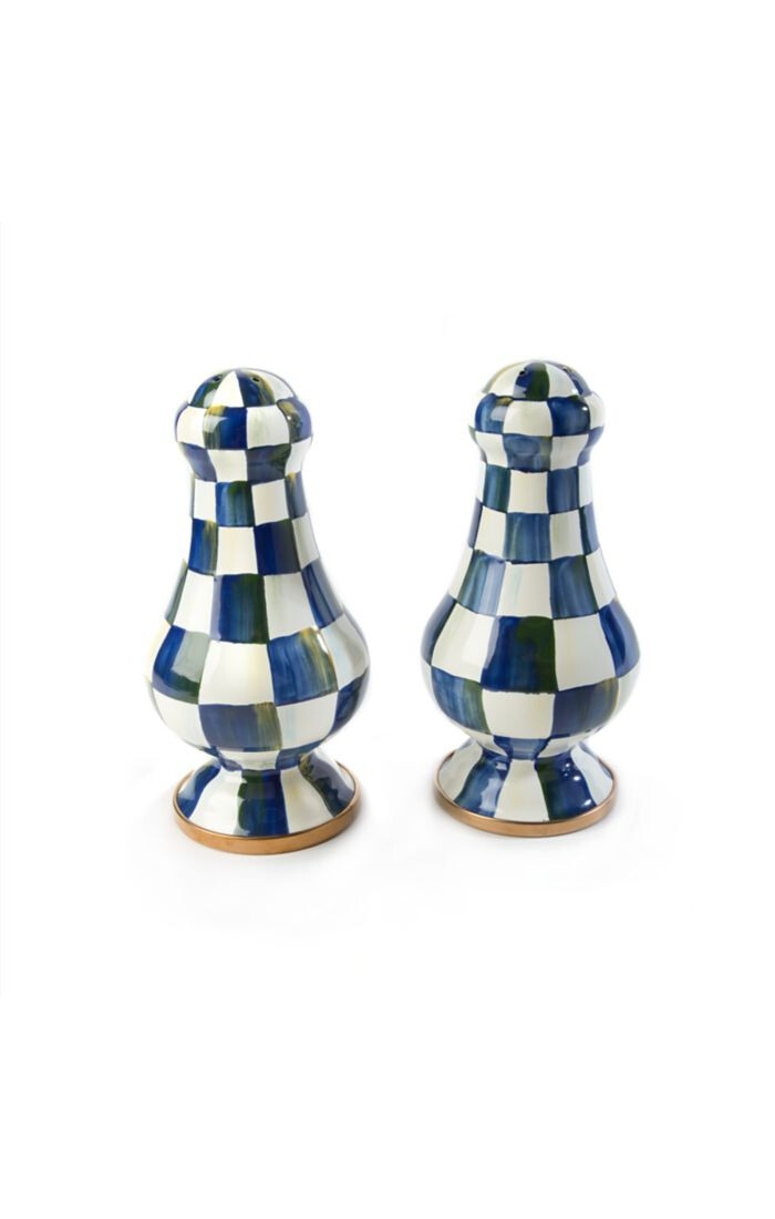 Royal check large salt and pepper shakers