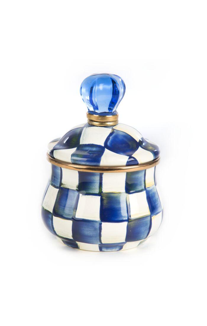 Royal check lidded sugar bowl