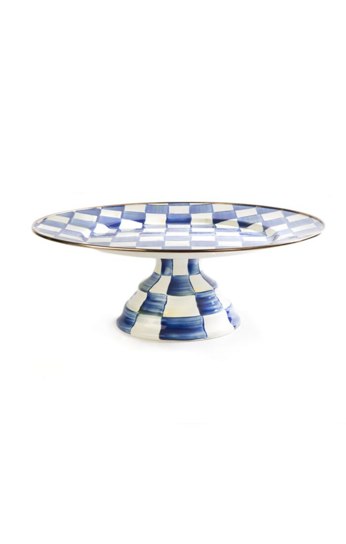 Royal check pedestal platter large