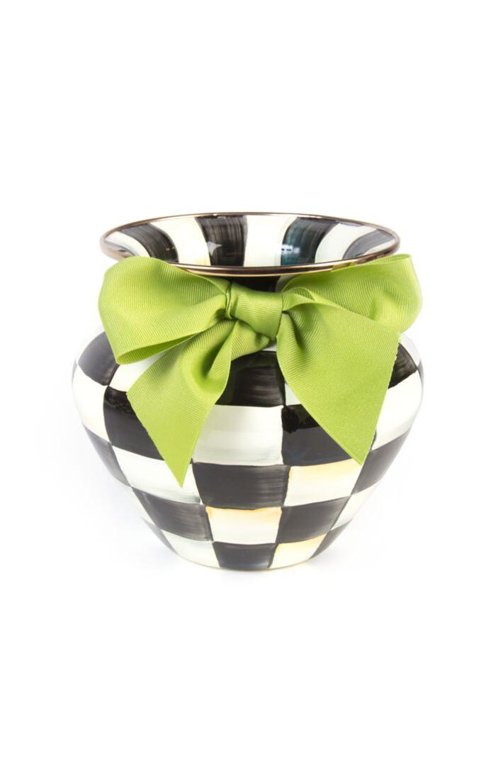CC enamel vase green bow large