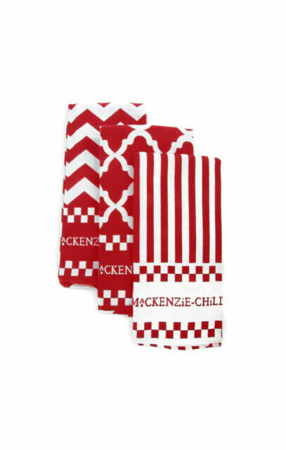 Red and white zig zag dish towels