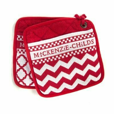 Red and white zig zag pot holders