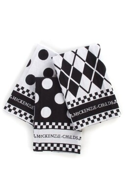 Black and white dot dish towel set of 3