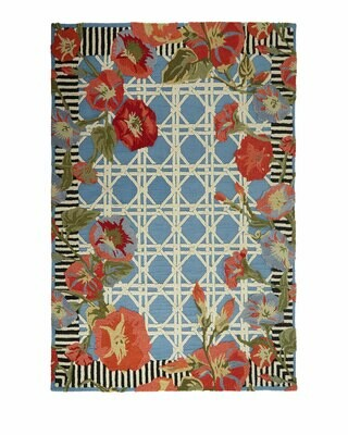 Blue morning glory indoor/outdoor rug 2x3